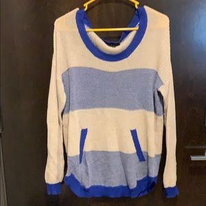 Blue and Cream Knit Sweater